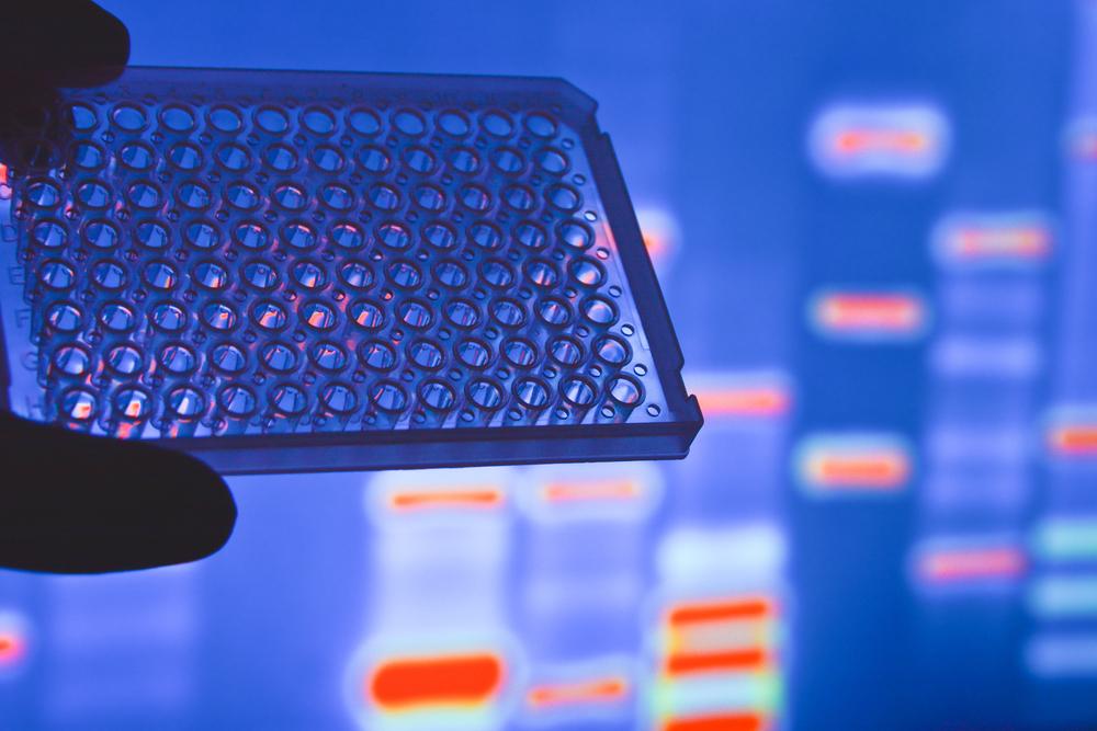 Das Bild zeigt ein Test kit (well plate) welches für die genetische analyse eingesetzt wird